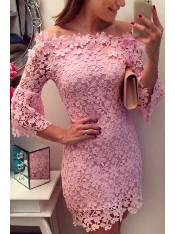 fancy Slash Neck Off-The-Shoulder Floral Lace Dress - PINK L
