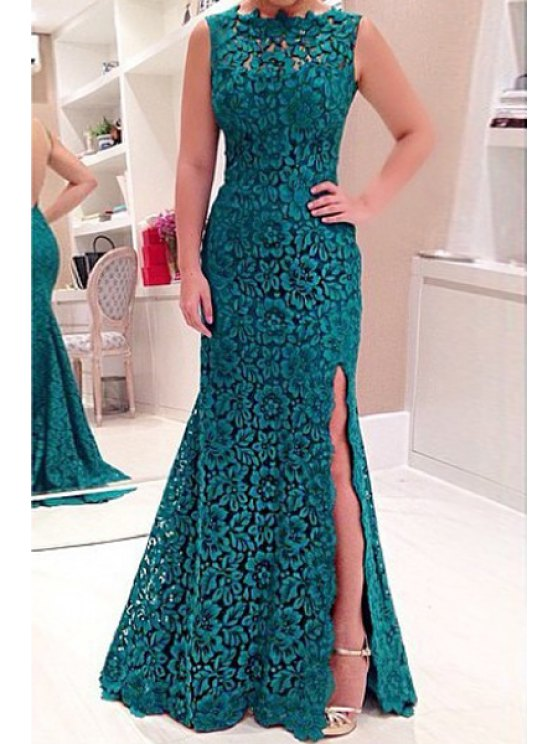 sale Backless High Slit Floral Lace Sleeveless Dress - GREEN S