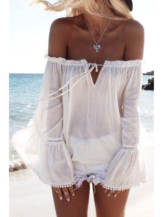 women's Off The Shoulder White Long Sleeve Blouse - WHITE S