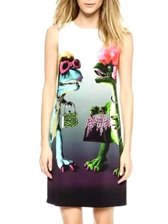 shops Sleeveless Dinosaur Print Spliced Dress - GREEN S