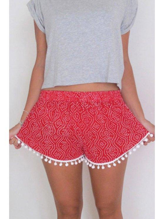 ladies Elastic Waist Printed Irregular Hem Laciness Shorts - RED S