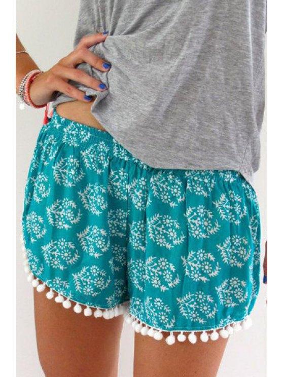 outfits Elastic Waist Irregular Hem Laciness Shorts - GREEN S