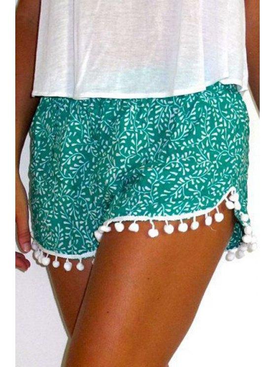 latest Full Floral Print Irregular Hem Laciness Shorts - GREEN S