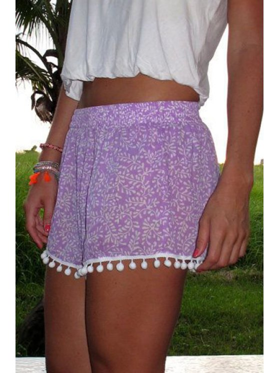 fancy Floral Print Irregular Hem Laciness Purple Shorts - PURPLE S