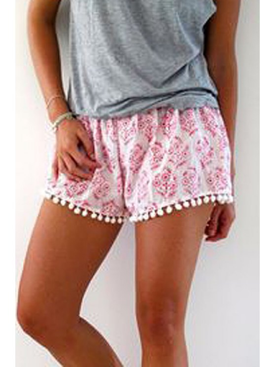 women's Floral Print Irregular Hem Laciness Pink Shorts - PINK S