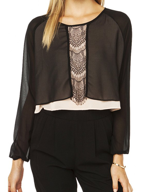 best Lace Spliced Chiffon Long Sleeve Blouse - BLACK S