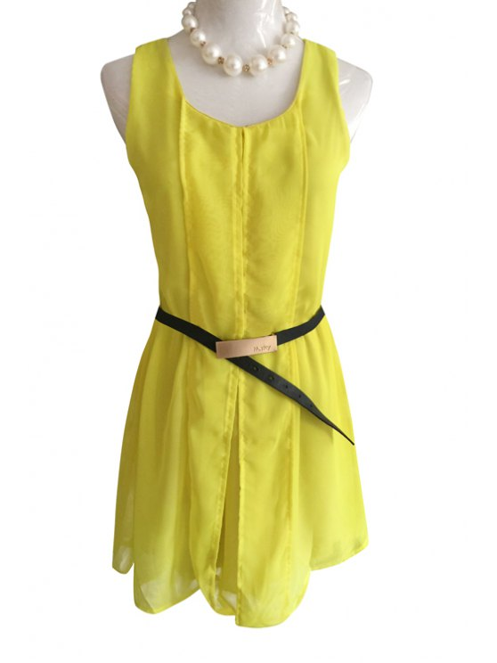 shop Scoop Neck Backless Lace Splicing Sleeveless Dress - YELLOW S