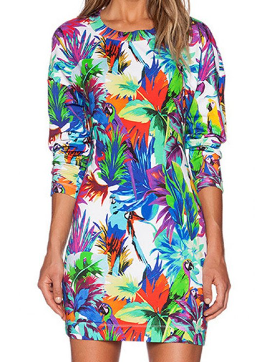 shop Colored Floral Long Sleeve Dress - COLORFUL S