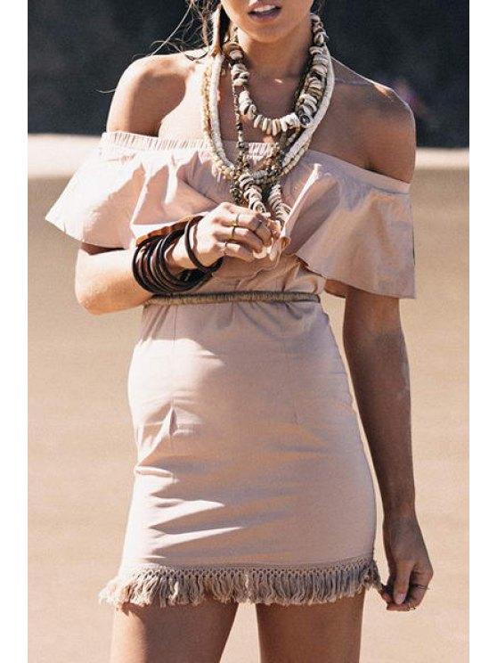 shops Slash Neck Off-The-Shoulder Fringe Dress - KHAKI S