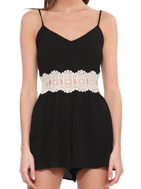affordable Lace Spliced Spaghetti Strap Backless Romper - BLACK S