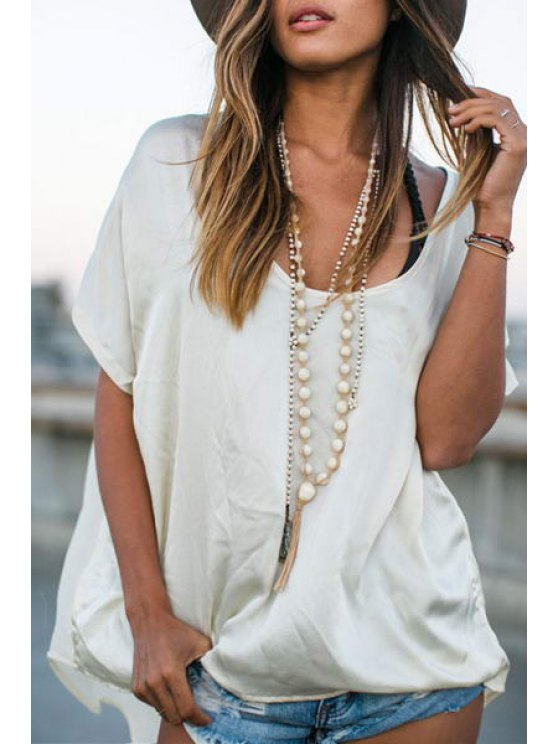 fancy Solid Color Asymmetrical Short Sleeve T-Shirt - WHITE S