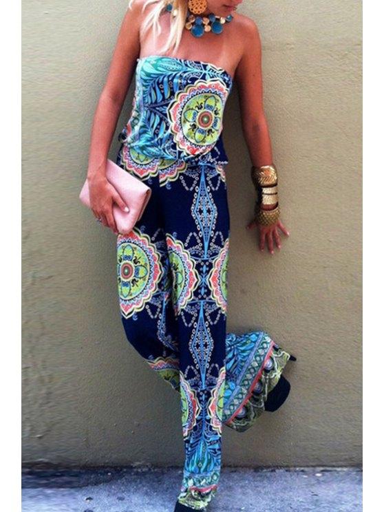 hot Vintage Print Strapless Jumpsuit - BLUE S