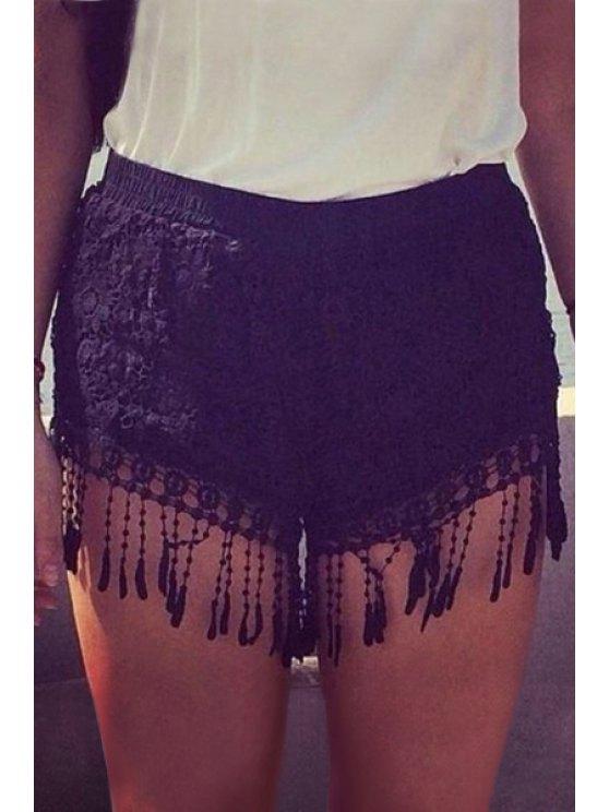 Crochet Fringed Shorts - BLACK S Mobile