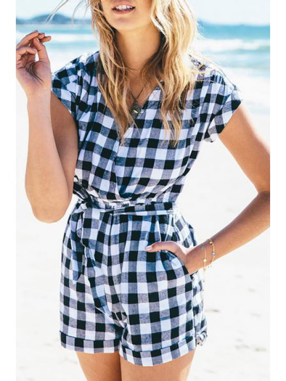 latest V-Neck Plaid Tie-Up Short Sleeve Romper - CHECKED S