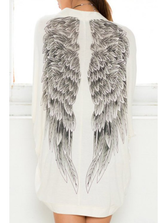 unique Wing Print Bat-Wing Sleeve Coat - MILK WHITE ONE SIZE(FIT SIZE XS TO M)