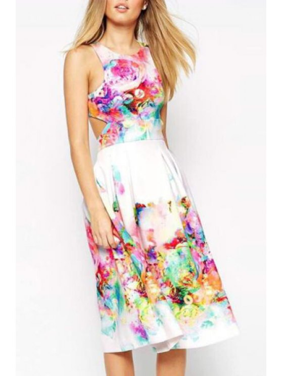 womens Floral Sleeveless A Line Midi Dress - WHITE S