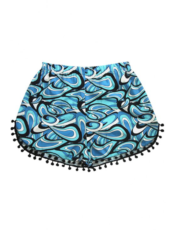 unique Elastic Waist Laciness Geommetic Print Shorts - BLUE S