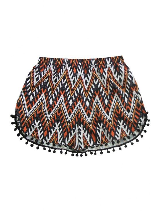 womens Elastic Waist Chevron Stripe Laciness Shorts - COLORMIX S