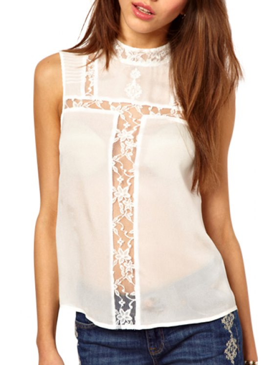 best Sleeveless Lace Spliced Blouse - WHITE S