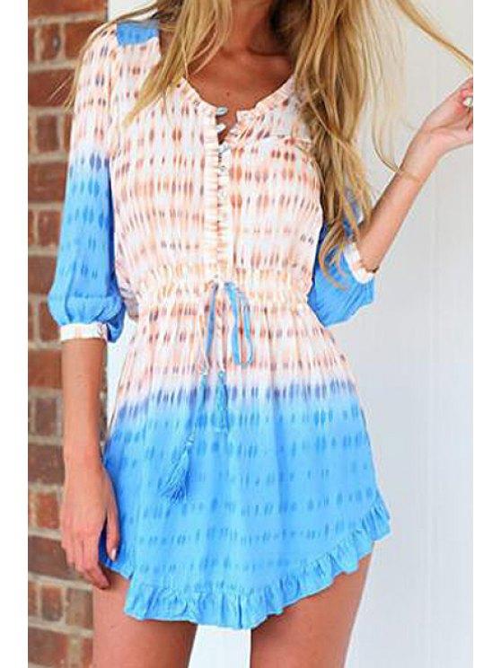 unique Half Sleeve Printed Ruffles Mini Dress - BLUE S