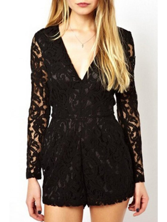 new Lace Plunging Neck Long Sleeve Playsuit - BLACK L