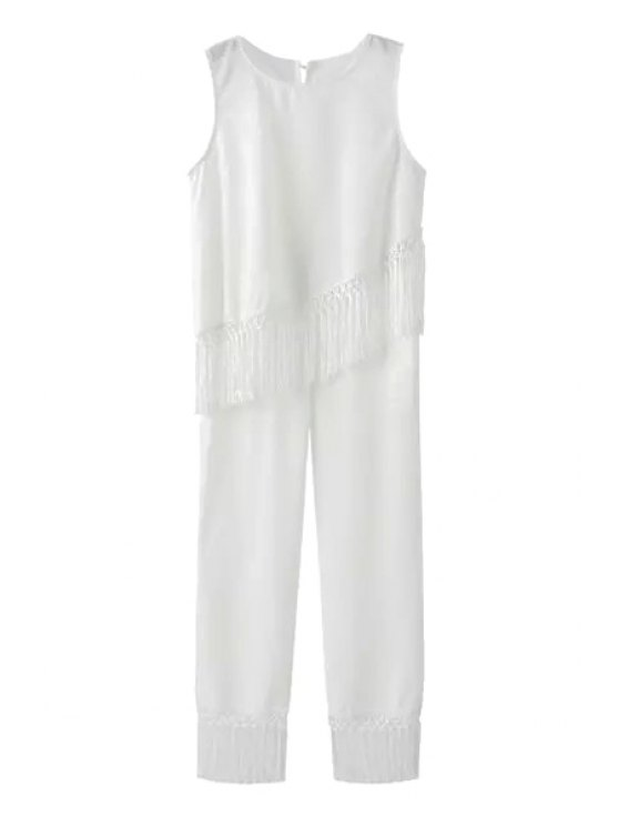 outfits Fringe Asymmetrical Sleeveless Tank Top + Pants - WHITE S
