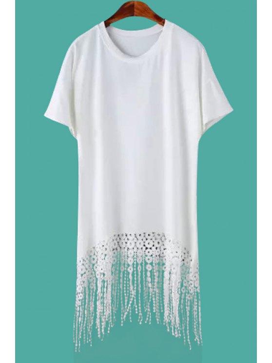 fashion Lace Tassel Splicing Short Sleeve Dress - WHITE M