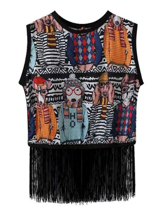 outfits Dog Print Fringe Splicing Sleeveless Tank Top - AS THE PICTURE ONE SIZE(FIT SIZE XS TO M)