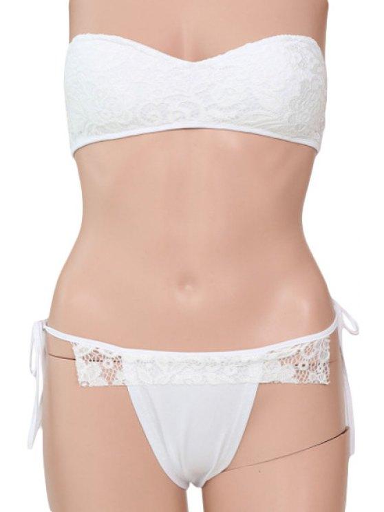 trendy Strapless Lace-Up Lace Spliced White Bikini Set - WHITE S