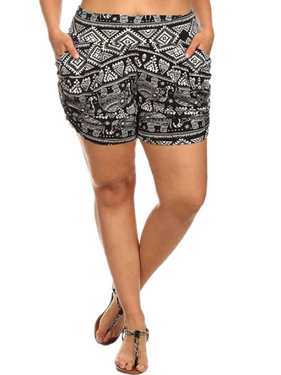 outfits High-Waisted Ethnic Print Pocket Design Shorts - WHITE AND BLACK S