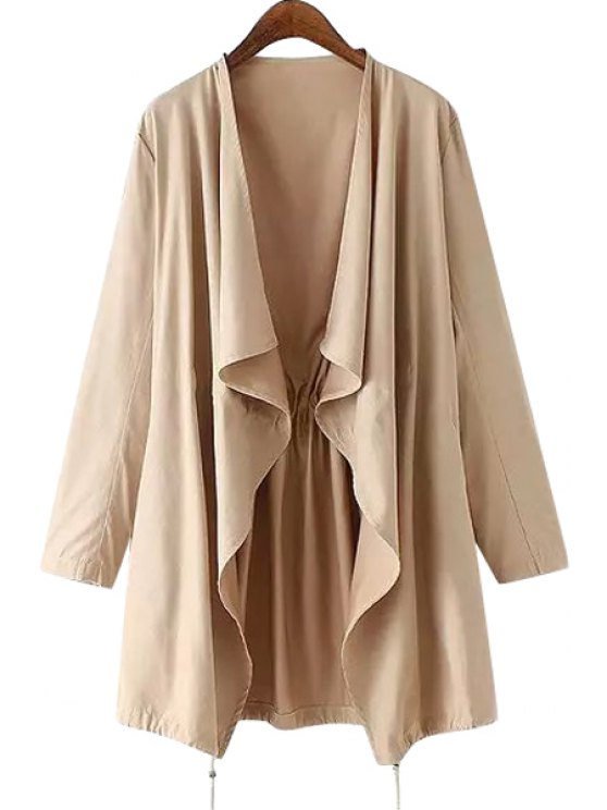 lady Solid Color Loose Fitting Ruffle Trench Coat - KHAKI S