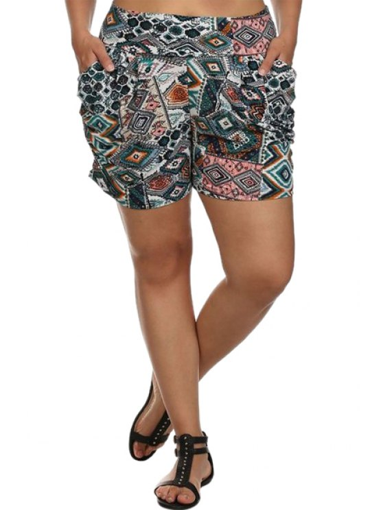 trendy High-Waisted Argyle Print Pocket Design Shorts - COLORMIX S