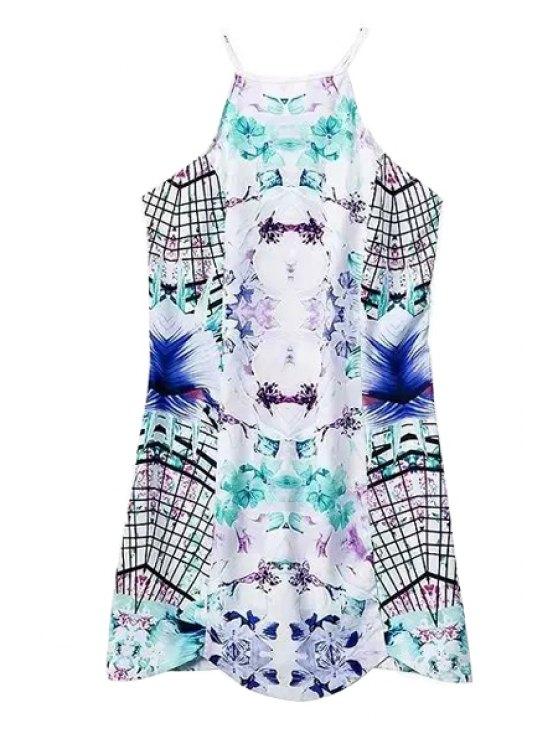 trendy Print Spaghetti Straps Mini Dress - WHITE S