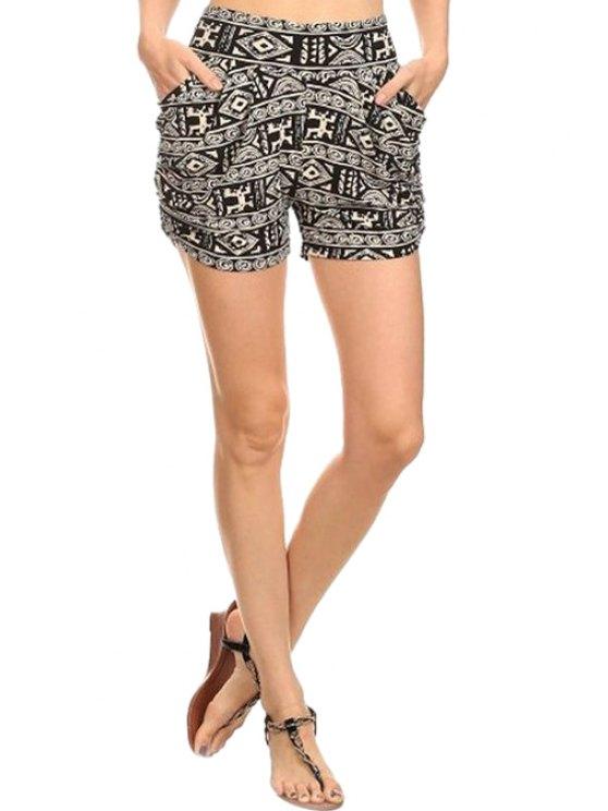 unique High-Waisted Geometric Print Pocket Design Shorts - COLORMIX S