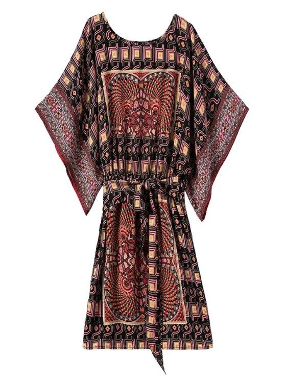 chic Bat-Wing Sleeve Vintage Print Dress - COLORMIX S