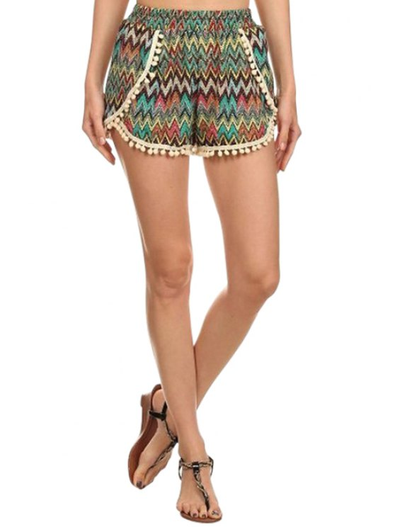 affordable Laciness Spliced Chevron Stripes Shorts - COLORMIX M