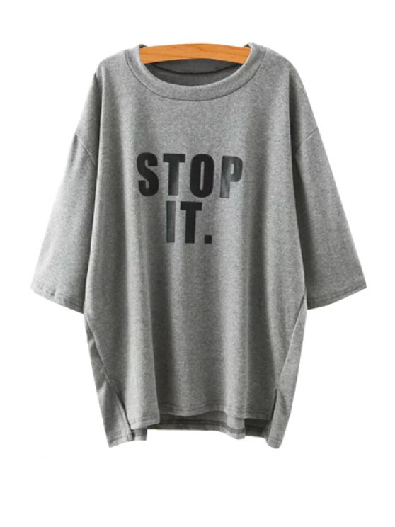 shops Letters Print Half Sleeve T-Shirt - GRAY ONE SIZE(FIT SIZE XS TO M)