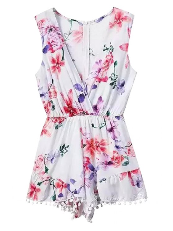 outfits Floral Plunging Collar Sleeveless Playsuit - WHITE S