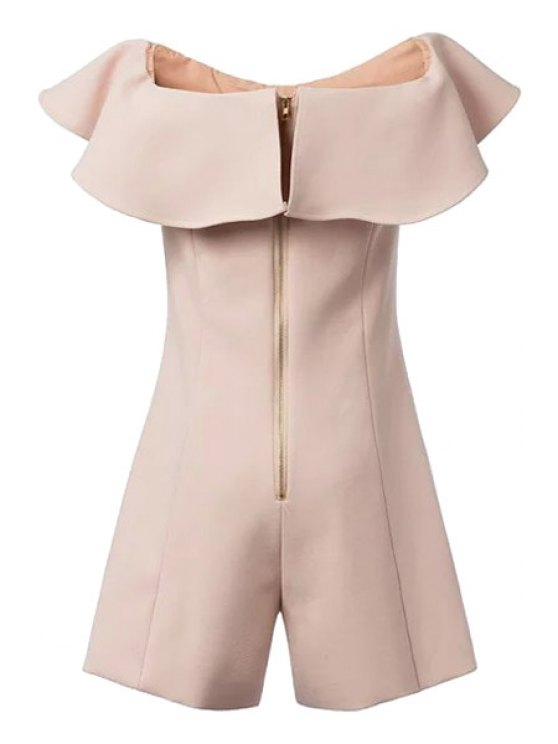 online Flounce Splicing Solid Color Short Sleeve Romper - APRICOT S