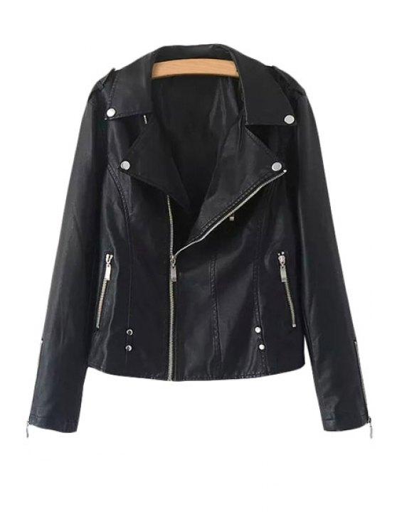 fancy Black Zippers Embellished Long Sleeve Coat - BLACK L