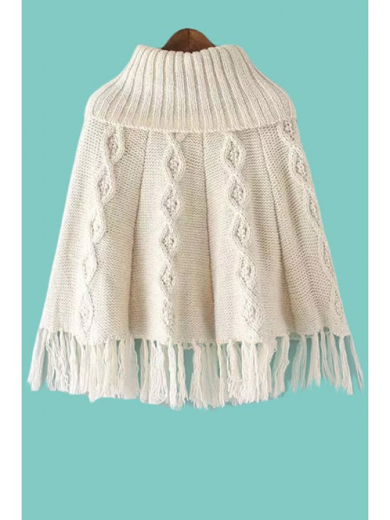 unique Turtle Neck Argyle Pattern Fringe Splicing Sweater - OFF-WHITE ONE SIZE(FIT SIZE XS TO M)
