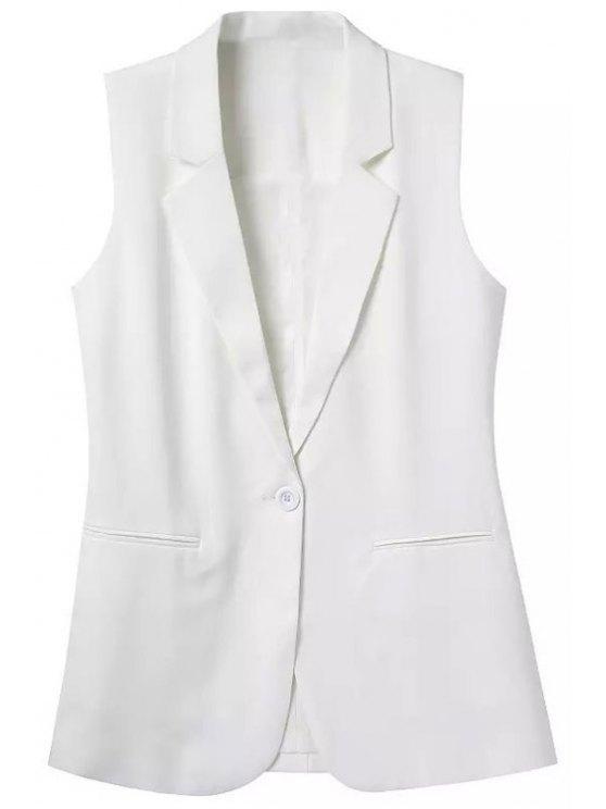 طية صدر السترة جيب بلون بلا اكمام صدرية - أبيض L