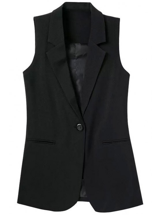 Lapel Pocket Solid Color Sans manches Waistcoat - Noir S
