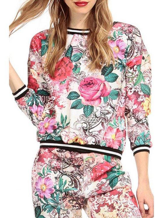 fashion Full Floral Print Round Striped Collar Sweatshirt - RED XS