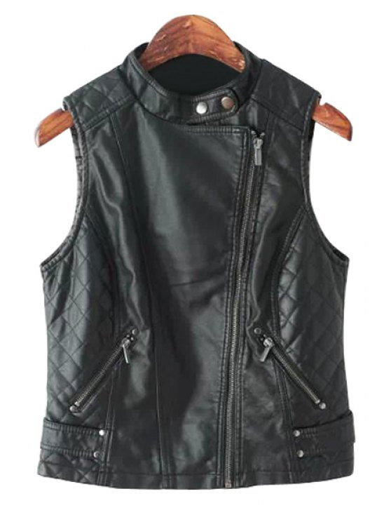 new PU Leather Stand Neck Waistcoat - BLACK S