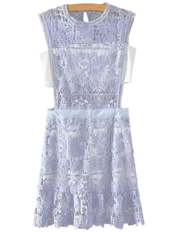 affordable Openwork Floral Pattern Lace Sleeveless Dress - PURPLE S