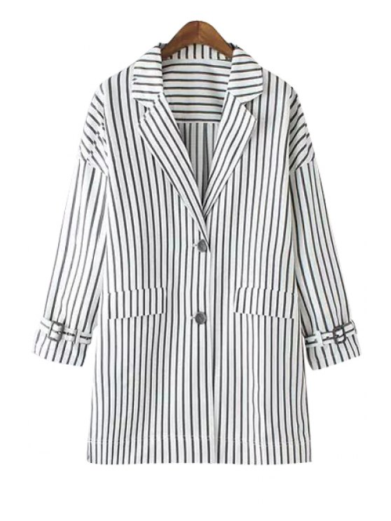 lady Striped Lapel Long Sleeve Coat - STRIPE S