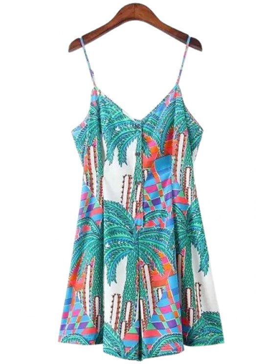 outfits Spaghetti Strap Palm Tree Print Sleeveless Romper - COLORMIX S