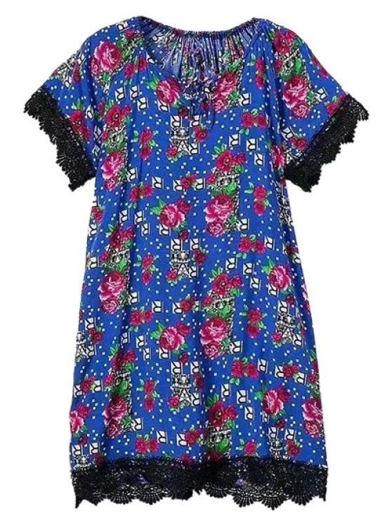 ladies Tiny Floral Plaid Print Short Sleeve Dress - COLORMIX S