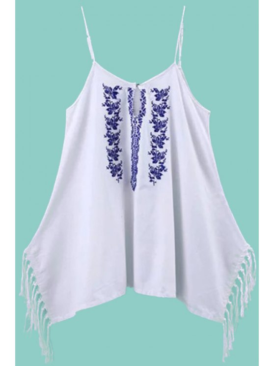 trendy Spaghetti Strap Floral Embroidery Fringe Splicing Dress - WHITE S